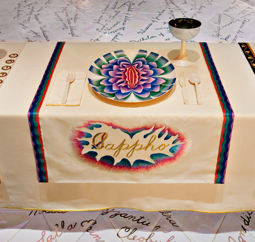 <p>Judy Chicago (American, b. 1939). <em>The Dinner Party</em> (Sappho place setting), 1974&ndash;79. Mixed media: ceramic, porcelain, textile. Brooklyn Museum, Gift of the Elizabeth A. Sackler Foundation, 2002.10. &copy; Judy Chicago. Photograph by Jook Leung Photography</p>