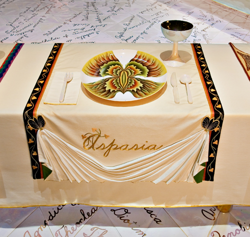 <p>Judy Chicago (American, b. 1939). <em>The Dinner Party</em> (Aspasia place setting), 1974&ndash;79. Mixed media: ceramic, porcelain, textile. Brooklyn Museum, Gift of the Elizabeth A. Sackler Foundation, 2002.10. &copy; Judy Chicago. Photograph by Jook Leung Photography</p>
