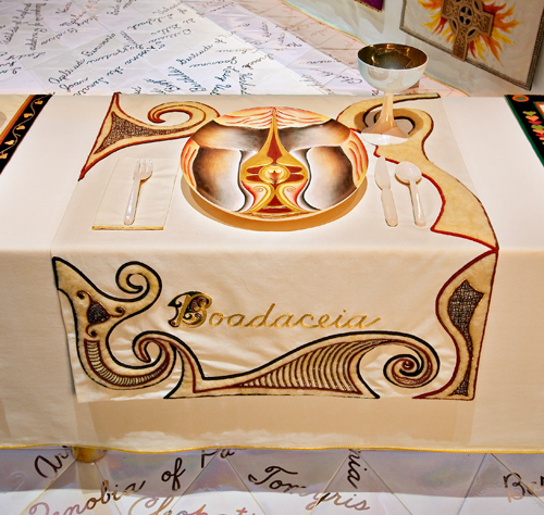 <p>Judy Chicago (American, b. 1939).<em> The Dinner Party</em> (Boadaceia place setting), 1974–79. Mixed media: ceramic, porcelain, textile. Brooklyn Museum, Gift of the Elizabeth A. Sackler Foundation, 2002.10. © Judy Chicago. Photograph by Jook Leung Photography</p>