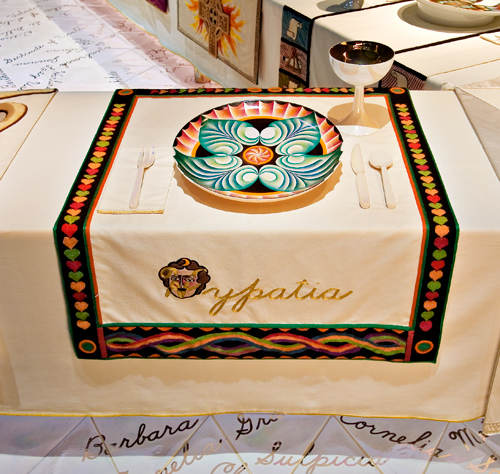 <p>Judy Chicago (American, b. 1939). <em>The Dinner Party</em> (Hypatia place setting), 1974–79. Mixed media: ceramic, porcelain, textile. Brooklyn Museum, Gift of the Elizabeth A. Sackler Foundation, 2002.10. © Judy Chicago. Photograph by Jook Leung Photography</p>
