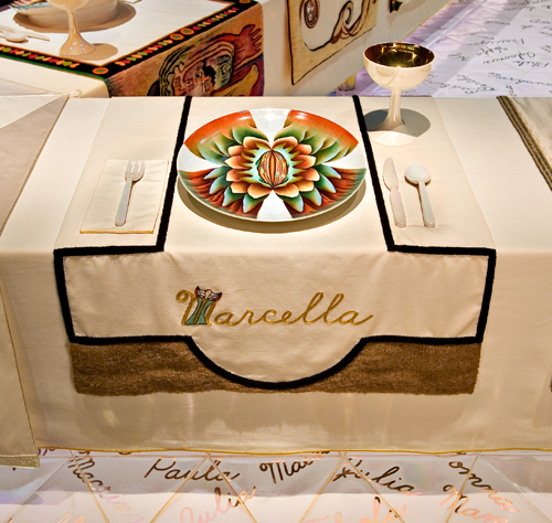 <p>Judy Chicago (American, b. 1939). <em>The Dinner Party</em> (Marcella place setting), 1974&ndash;79. Mixed media: ceramic, porcelain, textile. Brooklyn Museum, Gift of the Elizabeth A. Sackler Foundation, 2002.10. &copy; Judy Chicago. Photograph by Jook Leung Photography</p>