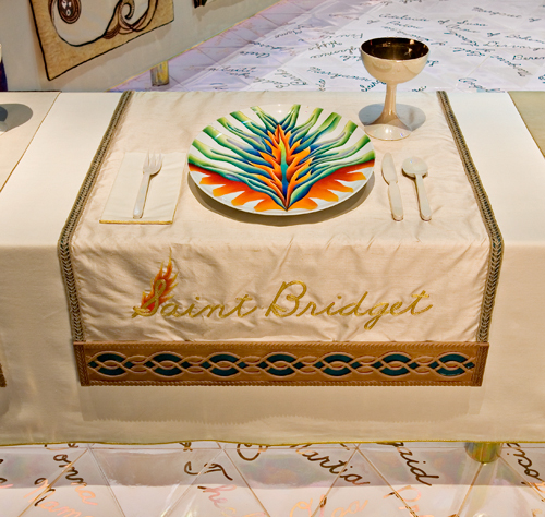 <p>Judy Chicago (American, b. 1939). <em>The Dinner Party</em> (Saint Bridget place setting), 1974&ndash;79. Mixed media: ceramic, porcelain, textile. Brooklyn Museum, Gift of the Elizabeth A. Sackler Foundation, 2002.10. &copy; Judy Chicago. Photograph by Jook Leung Photography</p>