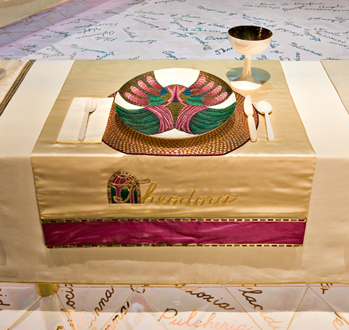<p>Judy Chicago (American, b. 1939). <em>The Dinner Party</em> (Theodora place setting), 1974–79. Mixed media: ceramic, porcelain, textile. Brooklyn Museum, Gift of the Elizabeth A. Sackler Foundation, 2002.10. © Judy Chicago. Photograph by Jook Leung Photography</p>