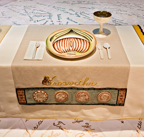 <p>Judy Chicago (American, b. 1939). <em>The Dinner Party</em> (Hrosvitha place setting), 1974&ndash;79. Mixed media: ceramic, porcelain, textile. Brooklyn Museum, Gift of the Elizabeth A. Sackler Foundation, 2002.10. &copy; Judy Chicago. Photograph by Jook Leung Photography</p>