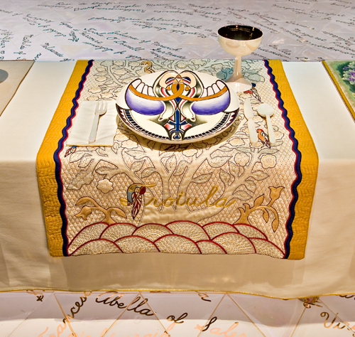 <p>Judy Chicago (American, b. 1939). <em>The Dinner Party</em> (Trotula place setting), 1974–79. Mixed media: ceramic, porcelain, textile. Brooklyn Museum, Gift of the Elizabeth A. Sackler Foundation, 2002.10. © Judy Chicago. Photograph by Jook Leung Photography</p>
