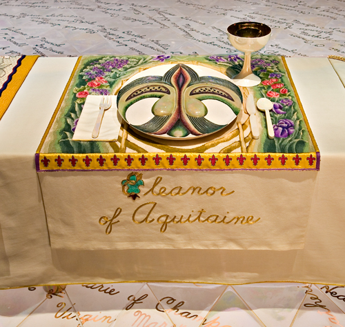 <p>Judy Chicago (American, b. 1939). <em>The Dinner Party</em> (Eleanor of Aquitaine place setting), 1974&ndash;79. Mixed media: ceramic, porcelain, textile. Brooklyn Museum, Gift of the Elizabeth A. Sackler Foundation, 2002.10. &copy; Judy Chicago. Photograph by Jook Leung Photography</p>