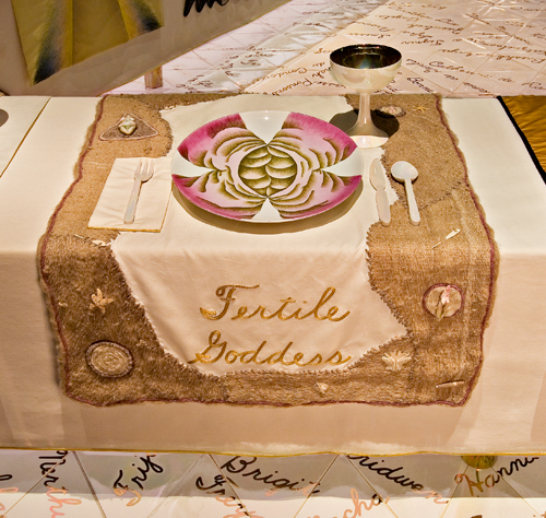 <p>Judy Chicago (American, b. 1939). <em>The Dinner Party</em> (Fertile Goddess place setting), 1974&ndash;79. Mixed media: ceramic, porcelain, textile. Brooklyn Museum, Gift of the Elizabeth A. Sackler Foundation, 2002.10. &copy; Judy Chicago. Photograph by Jook Leung Photography</p>