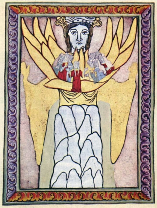Wisdom (or Sophia, Mother Wisdom). Manuscript illumination from Scivias (Know the Ways) by Hildegard of Bingen (Disibodenberg: 1151)