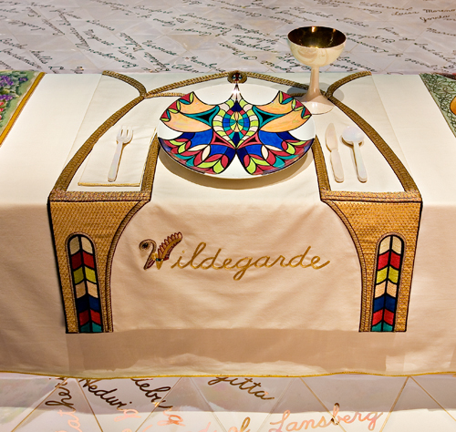 <p>Judy Chicago (American, b. 1939). <em>The Dinner Party</em> (Hildegarde of Bingen place setting), 1974–79. Mixed media: ceramic, porcelain, textile. Brooklyn Museum, Gift of the Elizabeth A. Sackler Foundation, 2002.10. © Judy Chicago. Photograph by Jook Leung Photography</p>