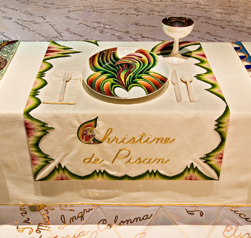 <p>Judy Chicago (American, b. 1939). <em>The Dinner Party</em> (Christine de Pisan place setting), 1974–79. Mixed media: ceramic, porcelain, textile. Brooklyn Museum, Gift of the Elizabeth A. Sackler Foundation, 2002.10. © Judy Chicago. Photograph by Jook Leung Photography</p>