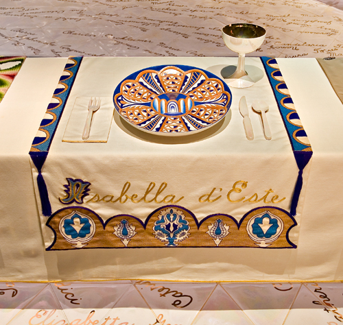 <p>Judy Chicago (American, b. 1939). <em>The Dinner Party</em> (Isabella d'Este place setting), 1974–79. Mixed media: ceramic, porcelain, textile. Brooklyn Museum, Gift of the Elizabeth A. Sackler Foundation, 2002.10. © Judy Chicago. Photograph by Jook Leung Photography</p>