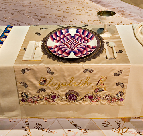 <p>Judy Chicago (American, b. 1939). <em>The Dinner Party</em> (Elizabeth R. place setting), 1974&ndash;79. Mixed media: ceramic, porcelain, textile. Brooklyn Museum, Gift of the Elizabeth A. Sackler Foundation, 2002.10. &copy; Judy Chicago. Photograph by Jook Leung Photography</p>