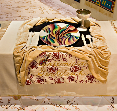 <p>Judy Chicago (American, b. 1939). <em>The Dinner Party</em> (Artemisia Gentileschi place setting), 1974&ndash;79. Mixed media: ceramic, porcelain, textile. Brooklyn Museum, Gift of the Elizabeth A. Sackler Foundation, 2002.10. &copy; Judy Chicago. Photograph by Jook Leung Photography</p>