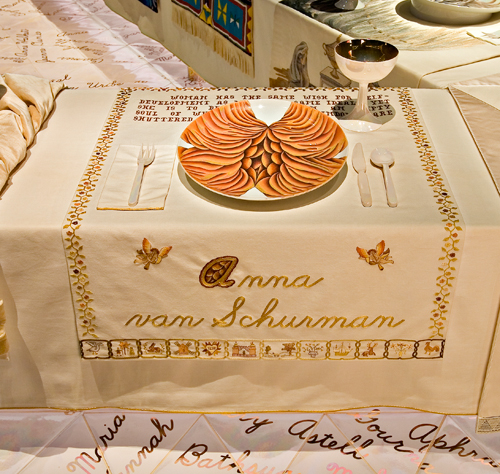 <p>Judy Chicago (American, b. 1939). <em>The Dinner Party</em> (Anna van Schurman place setting), 1974–79. Mixed media: ceramic, porcelain, textile. Brooklyn Museum, Gift of the Elizabeth A. Sackler Foundation, 2002.10. © Judy Chicago. Photograph by Jook Leung Photography</p>