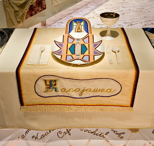 <p>Judy Chicago (American, b. 1939). <em>The Dinner Party</em> (Sacajawea place setting), 1974&ndash;79. Mixed media: ceramic, porcelain, textile. Brooklyn Museum, Gift of the Elizabeth A. Sackler Foundation, 2002.10. &copy; Judy Chicago. Photograph by Jook Leung Photography</p>