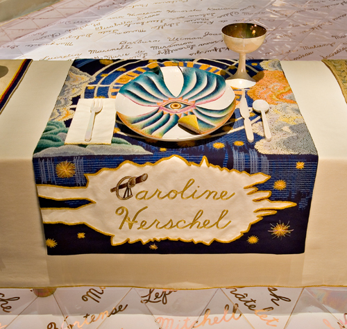 <p>Judy Chicago (American, b. 1939). <em>The Dinner Party</em> (Caroline Herschel place setting), 1974&ndash;79. Mixed media: ceramic, porcelain, textile. Brooklyn Museum, Gift of the Elizabeth A. Sackler Foundation, 2002.10. &copy; Judy Chicago. Photograph by Jook Leung Photography</p>