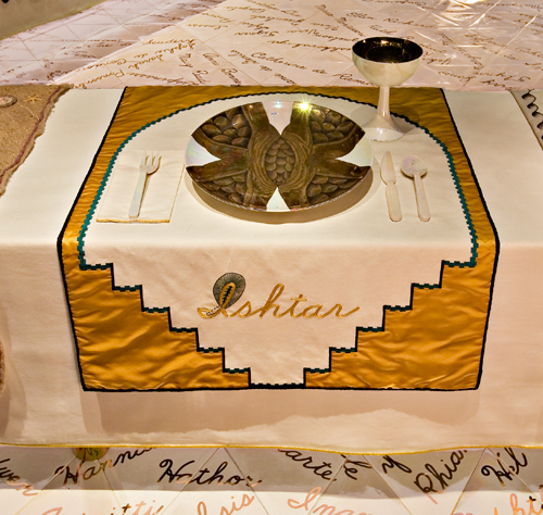 <p>Judy Chicago (American, b. 1939). <em>The Dinner Party</em> (Ishtar place setting), 1974&ndash;79. Mixed media: ceramic, porcelain, textile. Brooklyn Museum, Gift of the Elizabeth A. Sackler Foundation, 2002.10. &copy; Judy Chicago. Photograph by Jook Leung Photography</p>