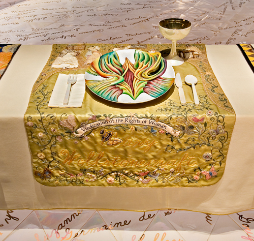 <p>Judy Chicago (American, b. 1939). <em>The Dinner Party</em> (Mary Wollstonecraft place setting), 1974–79. Mixed media: ceramic, porcelain, textile. Brooklyn Museum, Gift of the Elizabeth A. Sackler Foundation, 2002.10. © Judy Chicago. Photograph by Jook Leung Photography</p>