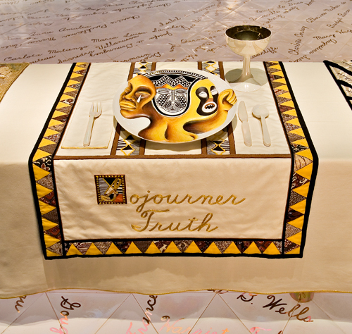 <p>Judy Chicago (American, b. 1939). <em>The Dinner Party </em>(Sojourner Truth place setting), 1974–79. Mixed media: ceramic, porcelain, textile. Brooklyn Museum, Gift of the Elizabeth A. Sackler Foundation, 2002.10. © Judy Chicago. Photograph by Jook Leung Photography</p>