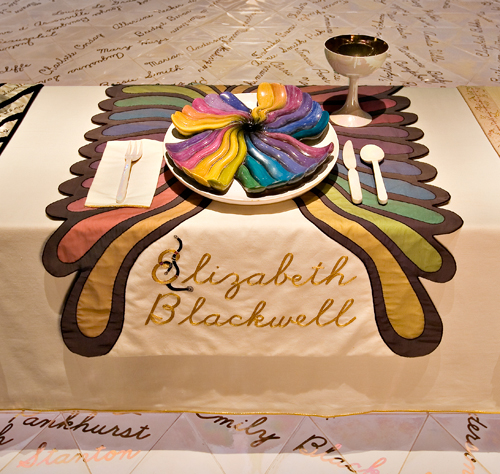<p>Judy Chicago (American, b. 1939). <em>The Dinner Party</em> (Elizabeth Blackwell place setting), 1974–79. Mixed media: ceramic, porcelain, textile. Brooklyn Museum, Gift of the Elizabeth A. Sackler Foundation, 2002.10. © Judy Chicago. Photograph by Jook Leung Photography</p>