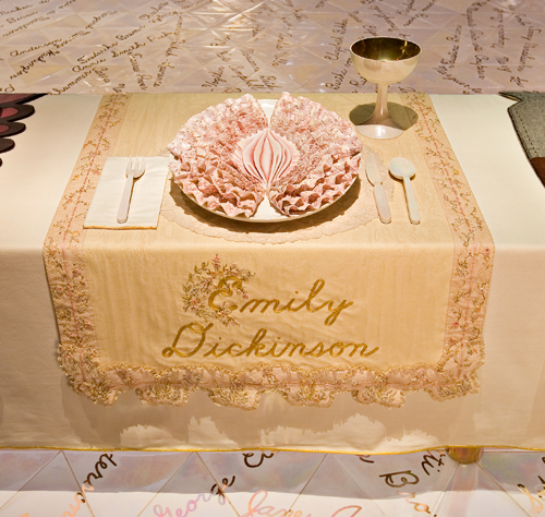 <p>Judy Chicago (American, b. 1939). <em>The Dinner Party</em> (Emily Dickinson place setting), 1974&ndash;79. Mixed media: ceramic, porcelain, textile. Brooklyn Museum, Gift of the Elizabeth A. Sackler Foundation, 2002.10. &copy; Judy Chicago. Photograph by Jook Leung Photography</p>