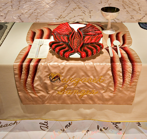 <p>Judy Chicago (American, b. 1939). <em>The Dinner Party</em> (Margaret Sanger place setting), 1974&ndash;79. Mixed media: ceramic, porcelain, textile. Brooklyn Museum, Gift of the Elizabeth A. Sackler Foundation, 2002.10. &copy; Judy Chicago. Photograph by Jook Leung Photography</p>