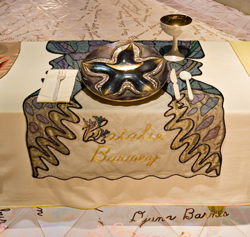 <p>Judy Chicago (American, b. 1939). <em>The Dinner Party</em> (Natalie Barney place setting), 1974–79. Mixed media: ceramic, porcelain, textile. Brooklyn Museum, Gift of the Elizabeth A. Sackler Foundation, 2002.10. © Judy Chicago. Photograph by Jook Leung Photography</p>