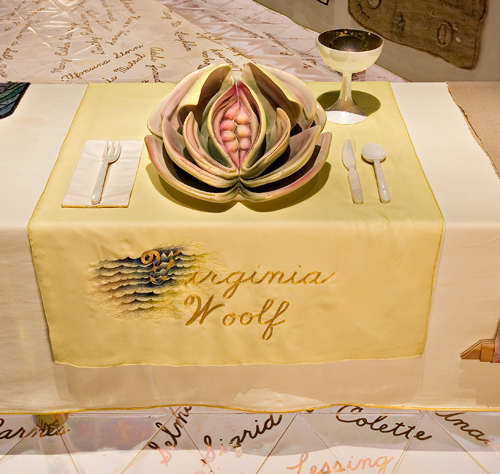 <p>Judy Chicago (American, b. 1939). <em>The Dinner Party</em> (Virginia Woolf place setting), 1974&ndash;79. Mixed media: ceramic, porcelain, textile. Brooklyn Museum, Gift of the Elizabeth A. Sackler Foundation, 2002.10. &copy; Judy Chicago. Photograph by Jook Leung Photography</p>