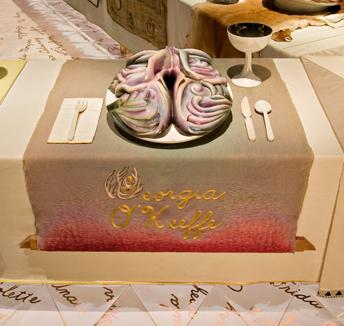 <p>Judy Chicago (American, b. 1939). <em>The Dinner Party</em> (Georgia O'Keeffe place setting), 1974–79. Mixed media: ceramic, porcelain, textile. Brooklyn Museum, Gift of the Elizabeth A. Sackler Foundation, 2002.10. © Judy Chicago. Photograph by Jook Leung Photography</p>