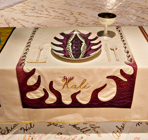 <p>Judy Chicago (American, b. 1939). <em>The Dinner Party</em> (Kali place setting), 1974&ndash;79. Mixed media: ceramic, porcelain, textile. Brooklyn Museum, Gift of the Elizabeth A. Sackler Foundation, 2002.10. &copy; Judy Chicago. Photograph by Jook Leung Photography</p>