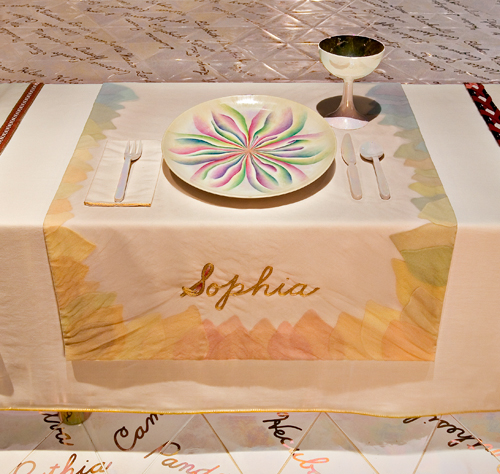 <p>Judy Chicago (American, b. 1939). <em>The Dinner Party</em> (Sophia place setting), 1974–79. Mixed media: ceramic, porcelain, textile. Brooklyn Museum, Gift of the Elizabeth A. Sackler Foundation, 2002.10. © Judy Chicago. Photograph by Jook Leung Photography</p>