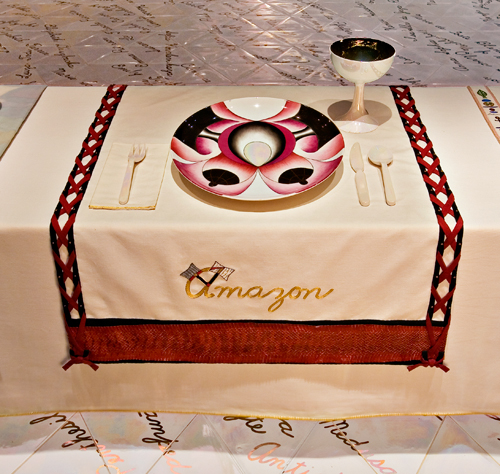 <p>Judy Chicago (American, b. 1939). <em>The Dinner Party</em> (Amazon place setting), 1974–79. Mixed media: ceramic, porcelain, textile. Brooklyn Museum, Gift of the Elizabeth A. Sackler Foundation, 2002.10. © Judy Chicago. Photograph by Jook Leung Photography</p>