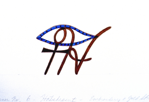 <p>Judy Chicago. <em>Drawing for Hatshepsut Illuminated Letter on runner</em>, 1979. Mixed media on paper, approx. 9 &times; 12 in. (22.9 &times; 30.5 cm). &copy; Judy Chicago. (Photo: &copy; Donald Woodman)</p>