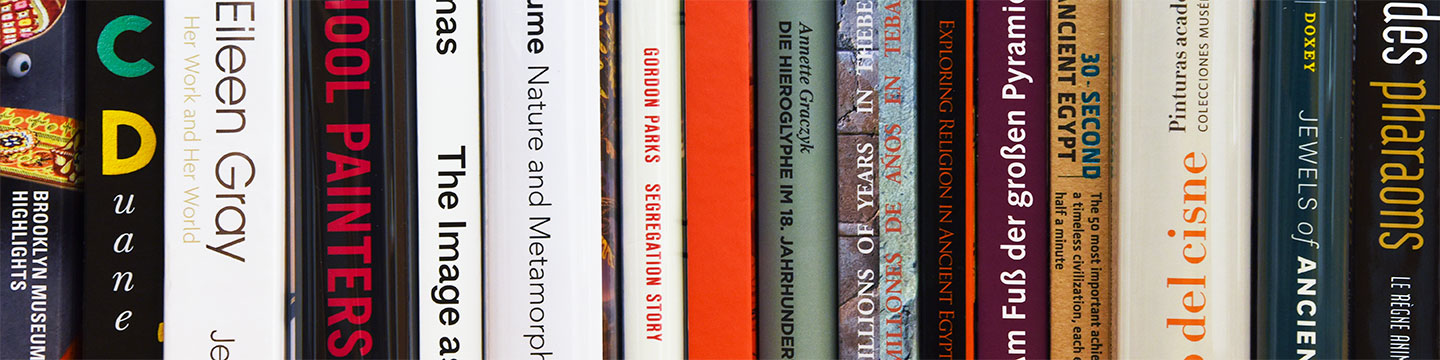 Books, with various titles and colors, on a long shelf